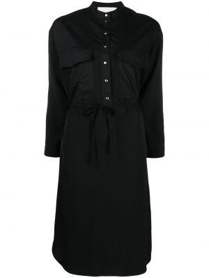 Хлопковое черное платье макси с воротником 8pm