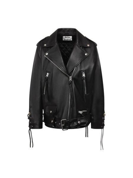Кожаная куртка черная свободная Acne Studios