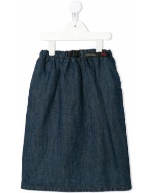 Хлопковая расклешенная синяя джинсовая юбка с поясом Denim Dungaree