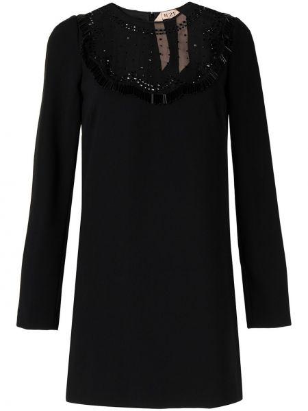Платье мини с бахромой - черное N°21