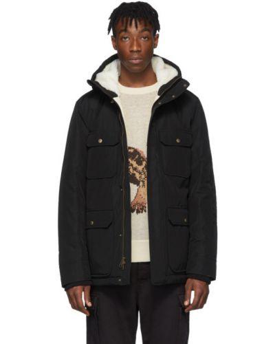 Czarna długa kurtka pikowana z haftem Aime Leon Dore