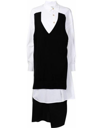 Sukienka midi zapinane na guziki - biała Enfold