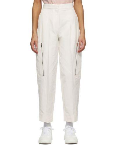 Льняные белые брюки с карманами Stella Mccartney