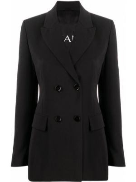 Черный приталенный пиджак двубортный Ermanno Ermanno