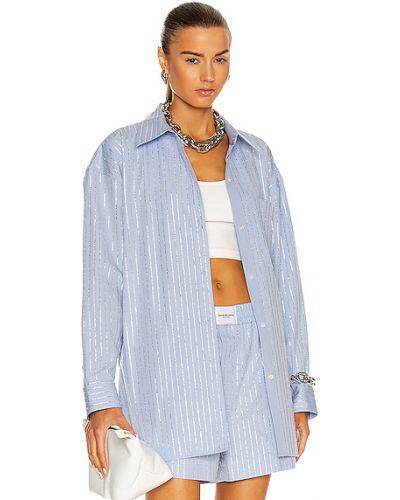 Niebieska koszula oxford bawełniana w paski Alexander Wang