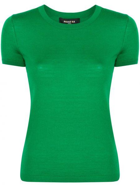 Зеленый шерстяной топ с круглым вырезом круглый Paule Ka