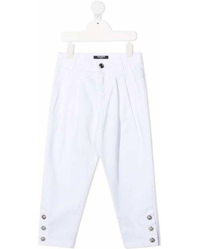 Хлопковые брючные белые брюки Balmain Kids