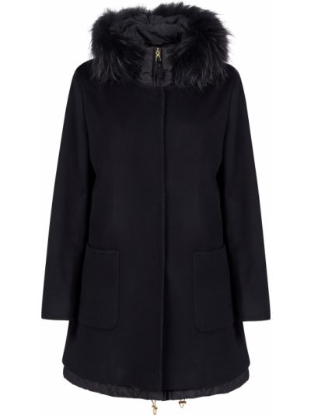 Шерстяное черное пальто с капюшоном Gallotti