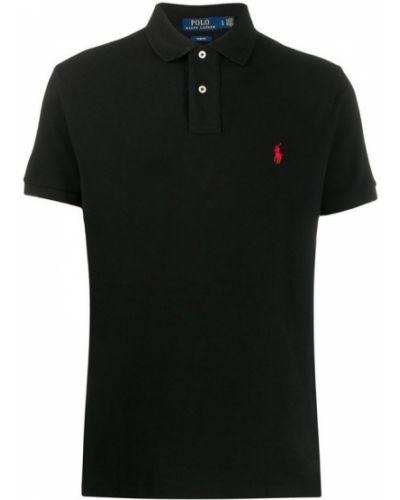 Czarne polo bawełniane krótki rękaw Polo Ralph Lauren