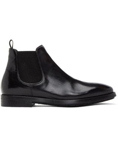 Czarny buty na wysokości z prawdziwej skóry Officine Creative