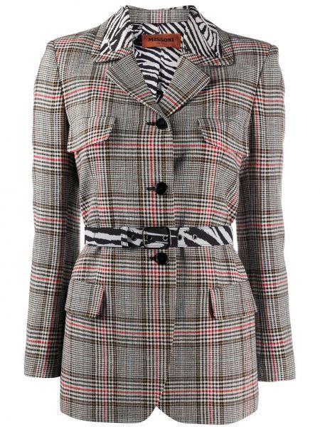 Коричневый приталенный кожаный пиджак Missoni
