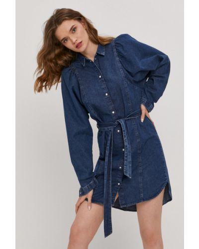 Niebieska sukienka jeansowa z długimi rękawami bawełniana Only