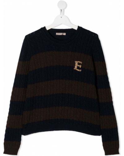 Коричневый кашемировый свитер с нашивками в рубчик Ermanno Scervino Junior