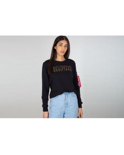 Sweter z haftem - czarny Alpha Industries