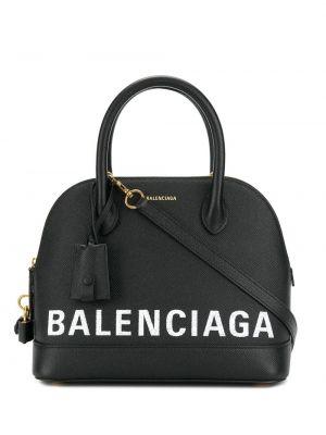 Skórzany czarny top z kieszeniami z łatami Balenciaga