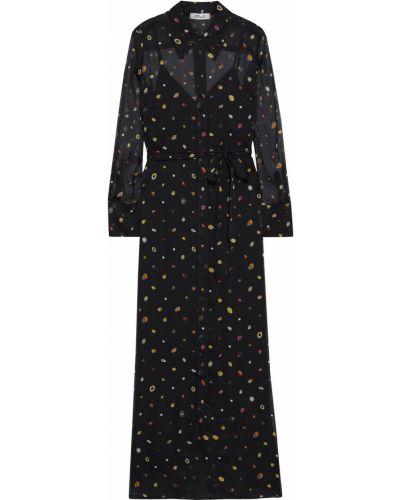 Шелковое черное платье макси на пуговицах Diane Von Furstenberg