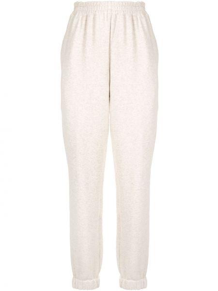 Хлопковые белые спортивные брюки с поясом с высокой посадкой Sir.
