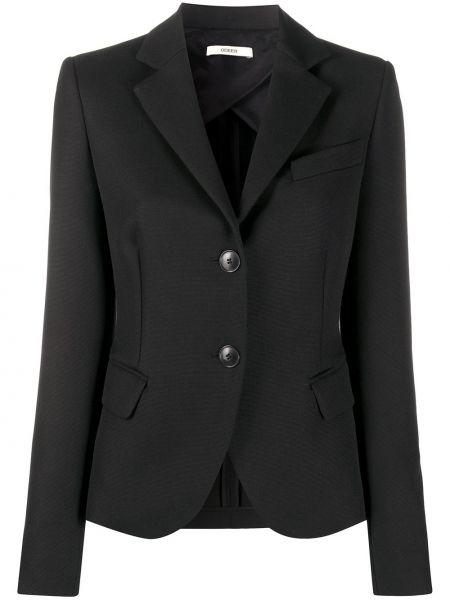 Однобортный черный удлиненный пиджак с карманами Odeeh