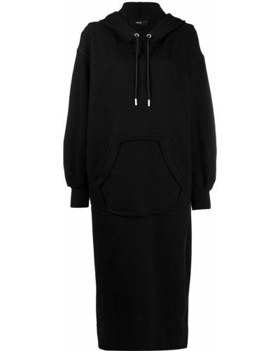 Черное платье миди с капюшоном в рубчик Diesel