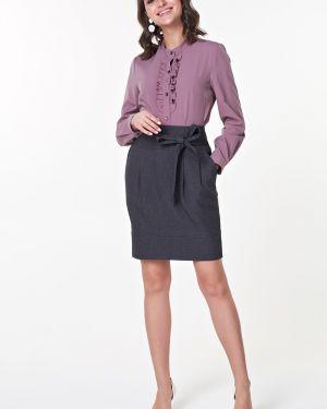 Блузка с рюшами с воротником-стойкой Valentina