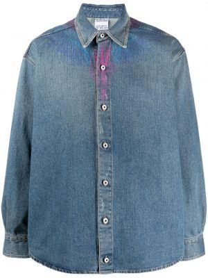 Niebieski bawełna z rękawami koszula jeansowa Marcelo Burlon County Of Milan