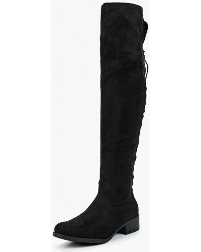 Ботфорты на каблуке замшевые черные Catisa