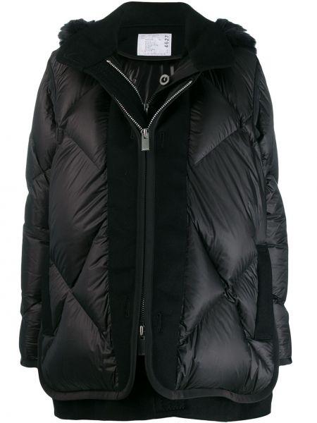 Черный длинное пальто с капюшоном с воротником Sacai