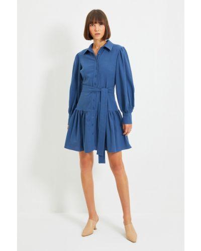 Koszula materiałowa - niebieska Trendyol