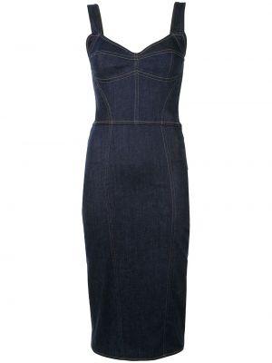 Приталенное тонкое платье миди на бретелях на молнии Dolce & Gabbana