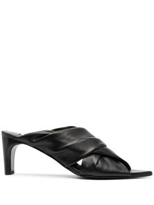 Кожаные мюли на каблуке с открытым носком Jil Sander
