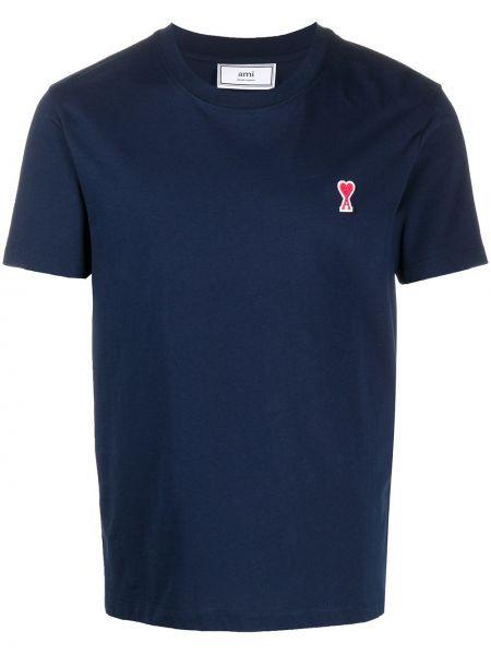 Niebieski t-shirt bawełniany z haftem Ami