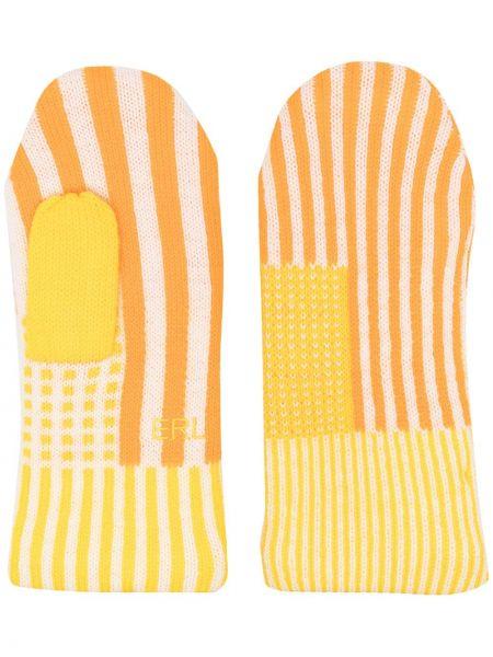 Żółte rękawiczki wełniane z haftem Erl