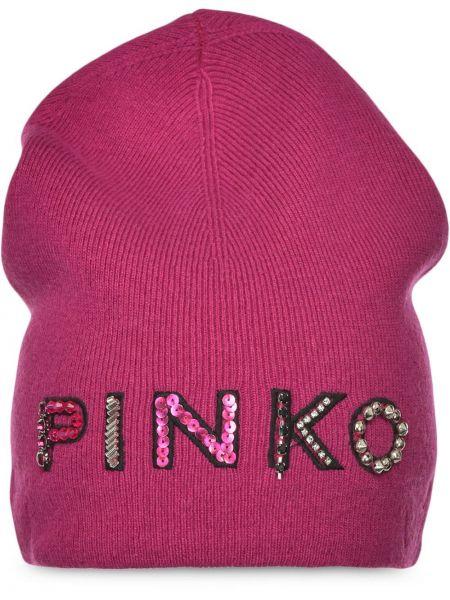 Prążkowana różowa czapka wełniana Pinko