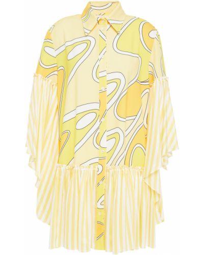 Желтое текстильное платье мини в полоску Sara Battaglia