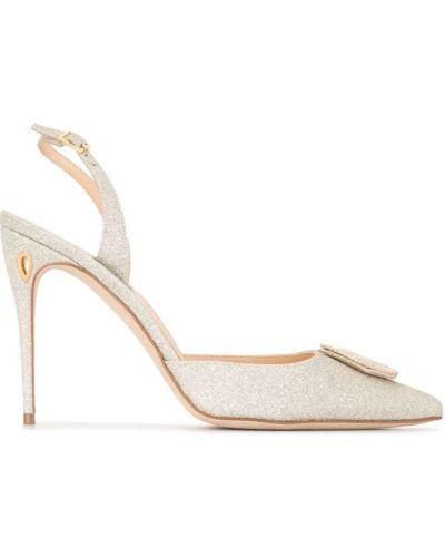 С ремешком серебряные туфли на каблуке с пряжкой на каблуке Jennifer Chamandi