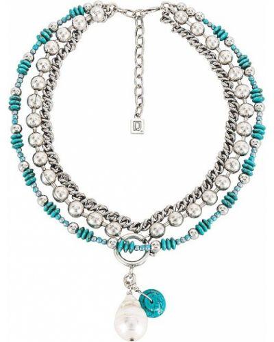 Naszyjnik łańcuch srebrny turkusowy Dannijo