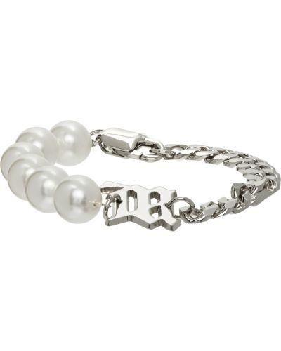 Biała bransoletka łańcuch srebrna perły Misbhv