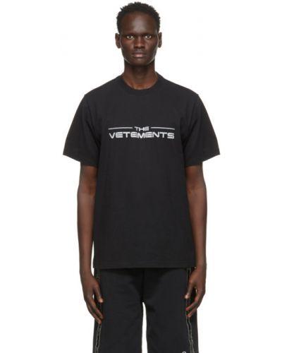Черная футболка с воротником с вышивкой Vetements