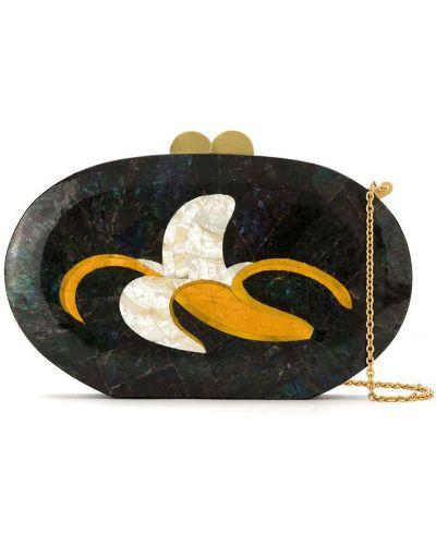 С ремешком черная сумка на цепочке металлическая с жемчугом Isla