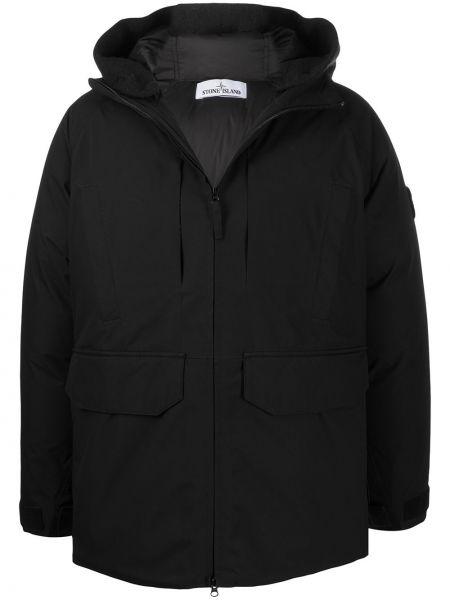 Klasyczny czarny długi płaszcz z długimi rękawami z kieszeniami Stone Island