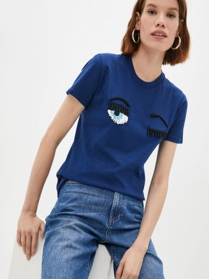 Синяя итальянская футболка Chiara Ferragni Collection
