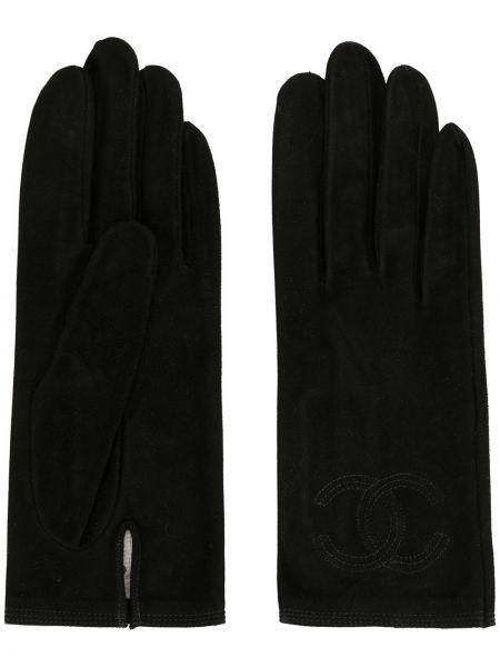Skórzany rękawiczki czarny Chanel Pre-owned
