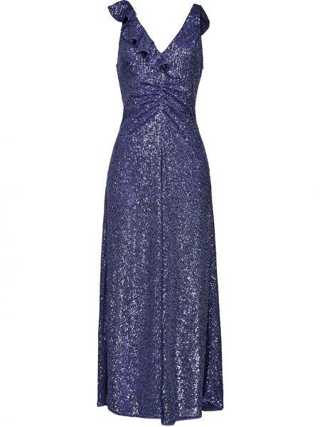 Синее вечернее платье с пайетками без рукавов Pinko
