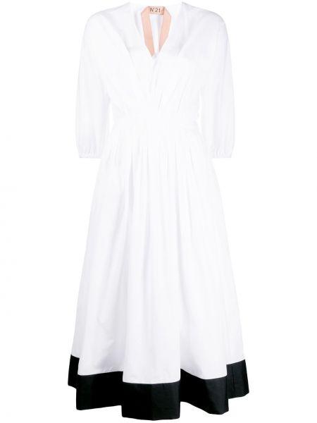 Платье миди с декольте с поясом N21