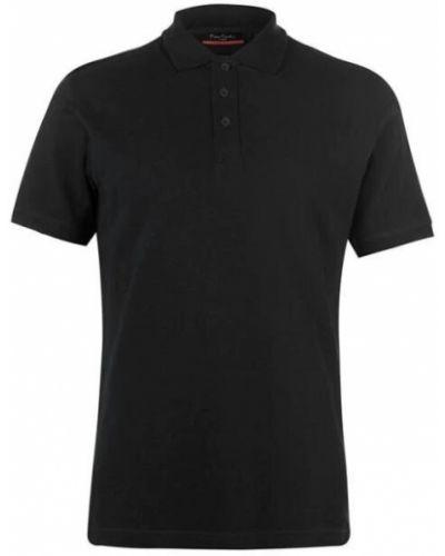 Черная классическая рубашка с короткими рукавами с воротником Pierre Cardin