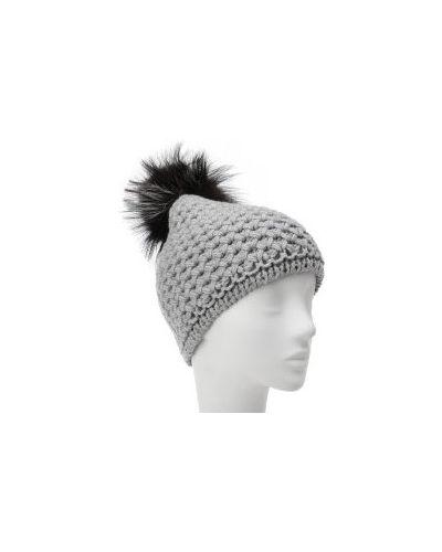 Вязаная шапка с мехом кашемировая La Neve