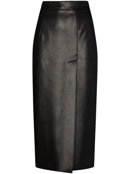 Черная юбка миди из натуральной кожи Aleksandre Akhalkatsishvili