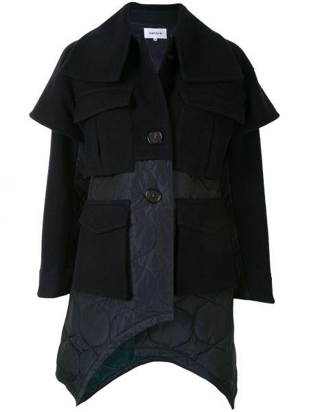 Niebieski pikowana płaszcz z kołnierzem z kieszeniami z łatami Enfold