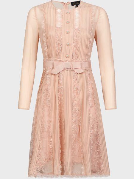 Розовое шелковое платье на молнии Luisa Spagnoli