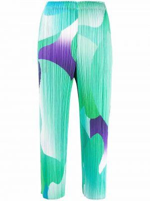 Укороченные зеленые брюки с принтом Pleats Please Issey Miyake